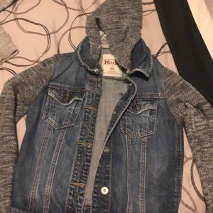 jean jacket with sweater like arms and hoodie